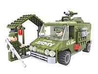 Конструктор для мальчика  AUSINI 22407  Военная техника военный фургон и пост 166 деталей  в коробке 4*25*19   см.