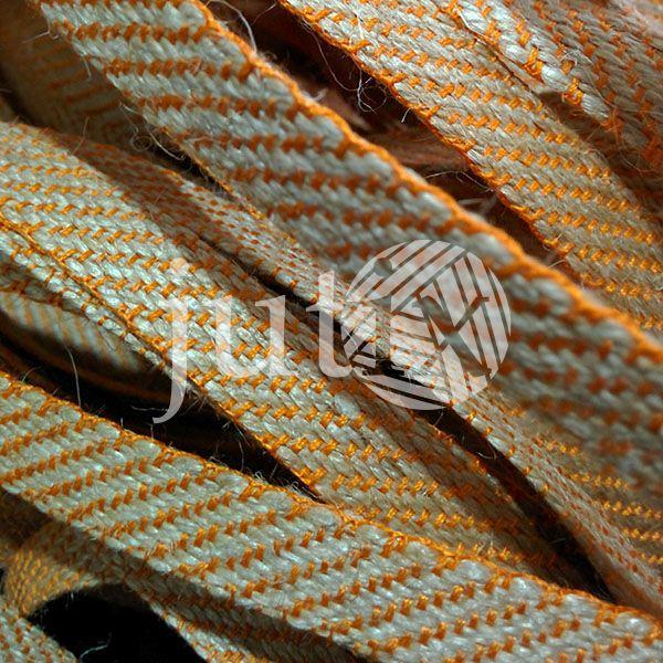 Декоративная лента (джутовая), 12 мм, S-узор. Оранжевый