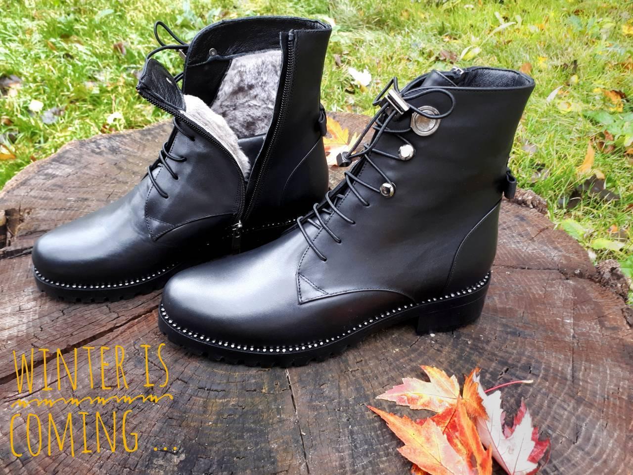 275a644b9 Ботинки женские зима на шнуровке кожаные с мехом на низком каблуке Tucino