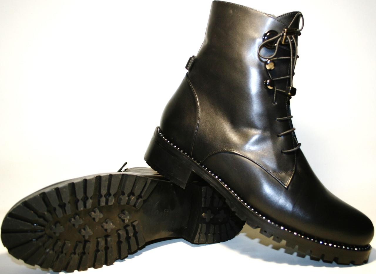 3eb67b6ee180 Ботинки женские зима на шнуровке кожаные с мехом на низком каблуке Tucino