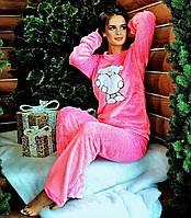 """Женский махровый костюм-пижама """"Мишка с сердцем"""". Р-р: 44-46."""