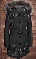 Теплое шерстяное пальто с мехом кролика. Комиссионка