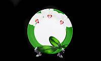 """Тарелка Десертная """"Белая Орхидея Зеленый Ободок"""" 175мм"""
