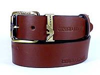 Ремень мужской кожаный GIORGIO ARMANI с классической пряжкой 4 см (коричневый) Итальянская кожа
