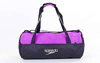 Сумка для спортзала Бочонок SPEEDO  (полиэстер, р-р 52х23х23см, черно-фиолетовый)