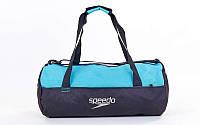 Сумка для спортзала Бочонок SPEEDO  (полиэстер, р-р 52x23x23см, черно-голубой)
