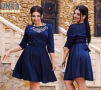 Романтичное платье с камнями по колено