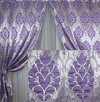 Комплект плотных штор для спальни сиреневый цвет