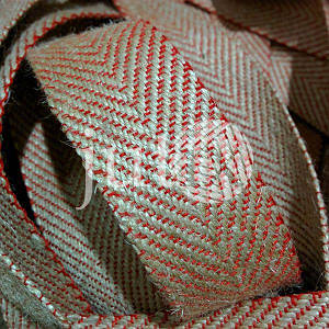 Декоративная лента (джутовая), 36 мм, V-узор. Украина, Красный