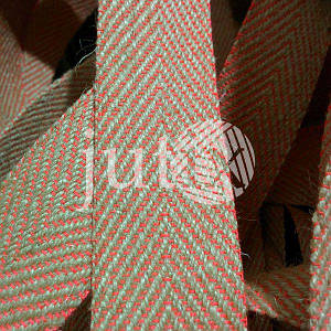 Декоративная лента (джутовая), 42 мм, V-узор. Розовый