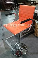 Барный стул оранжевый, хром Bar orange plate E1137