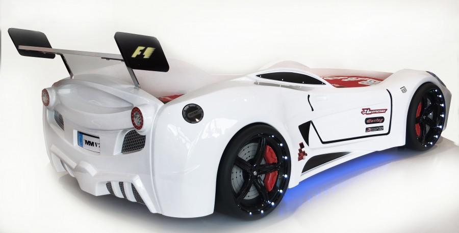 Кровать машина Turbo V7 white машинка белого цвета