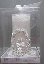 Свадебная свеча со тразами и металлический фигурный подсвечник