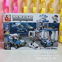 Конструктор SLUBAN Полицейский участок,транспорт,звук,св,582 дет,в кор-ке,57-38-9см