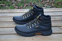 Мужские зимние кожаные ботинки Ecco черные (150)
