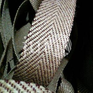 Декоративная лента (джутовая), 42 мм, V-узор. Бордовый