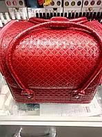 Чемодан, маникюрная сумка для мастера, кож.зам, лаковый принт, красный цвет, фото 1