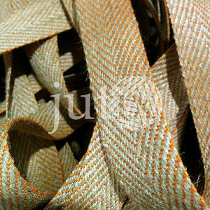 Декоративная лента (джутовая), 36 мм, V-узор. Оранжевый