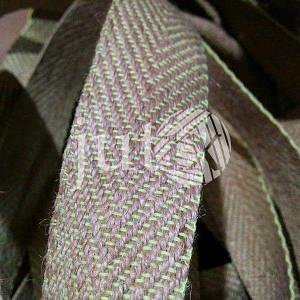 Декоративная лента (джутовая), 36 мм, V-узор. Салатовый