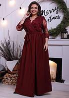 Вечернее платье-халат макси с кружевом батал