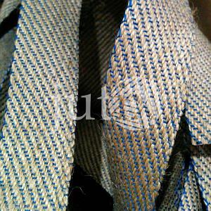 Декоративная лента (джутовая), 36 мм, S-узор. Синий