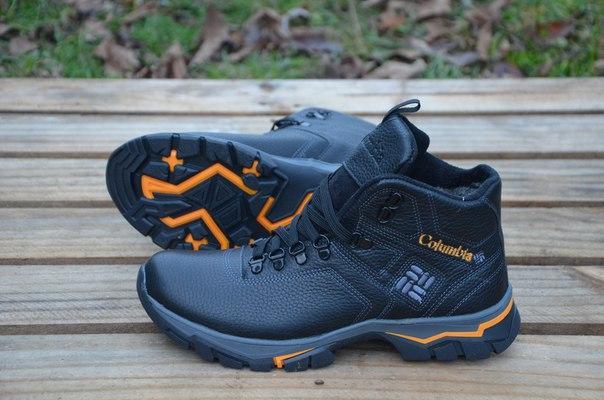 Мужские зимние кожаные ботинки Columbia, черные (Т-41) (реплика ... 9e3133dd59b
