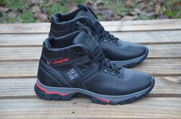 Мужские зимние кожаные ботинки Columbia, черные (17-41) (реплика ... 6f755bc25f8