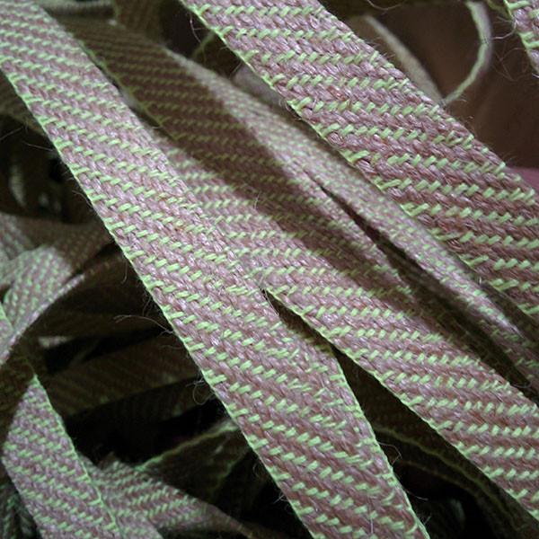 Декоративная лента (джутовая), 12 мм, S-узор. Салатовый