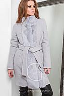 Женское зимнее пальто с натуральным мехом кролика