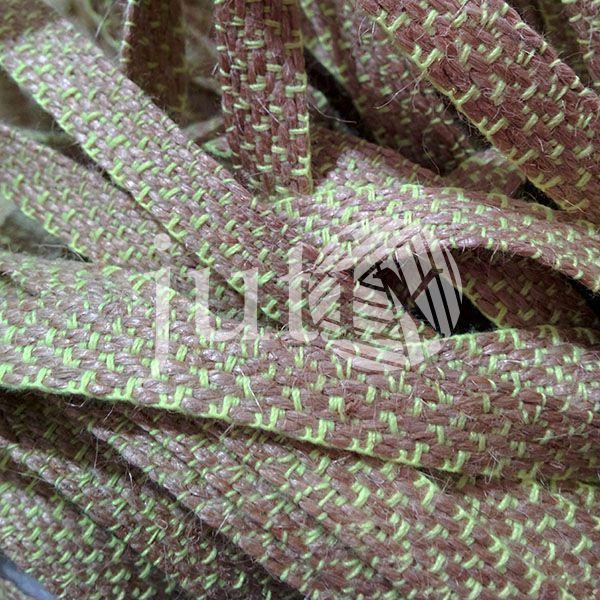 Декоративная лента (джутовая), 10 мм, X-узор. Салатовый