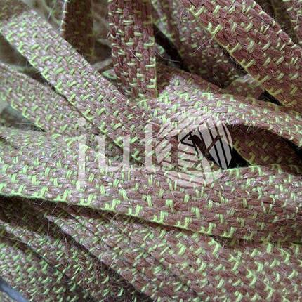 Декоративная лента (джутовая), 10 мм, X-узор. Салатовый, фото 2