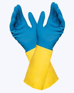 Перчатки кислотостойкие (КЩС) сине-желтые, фото 2