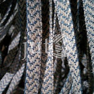 Декоративная лента (джутовая), 10 мм, V-узор. Серый