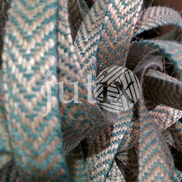 Декоративная лента (джутовая), 12 мм, V-узор. Зеленый