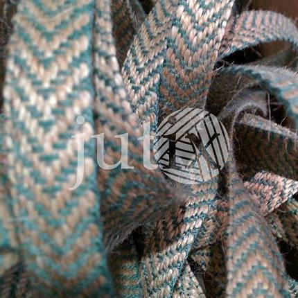 Декоративная лента (джутовая), 12 мм, V-узор. Зеленый, фото 2