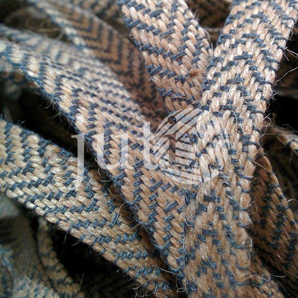 Декоративная лента (джутовая), 12 мм, V-узор. Серый