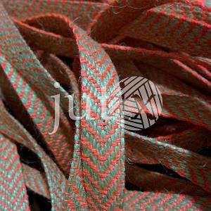 Декоративная лента (джутовая), 12 мм, V-узор. Розовый