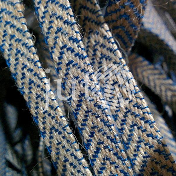 Декоративная лента (джутовая), 12 мм, V-узор. Синий