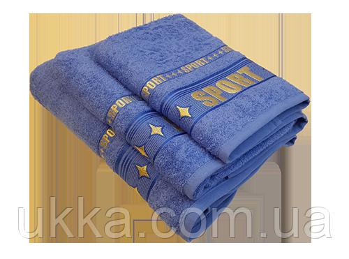 Полотенце Спорт 70х140 хлопок Узбекистан Синее