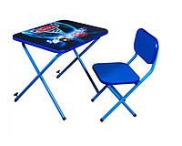 Детская парта со стульчиком Ommi Тачки Синяя, фото 1