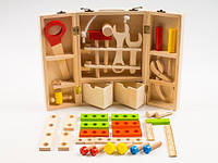 Деревянная игрушка Набор инструментов, 25 деталей, метал. pастежка, в чемодане