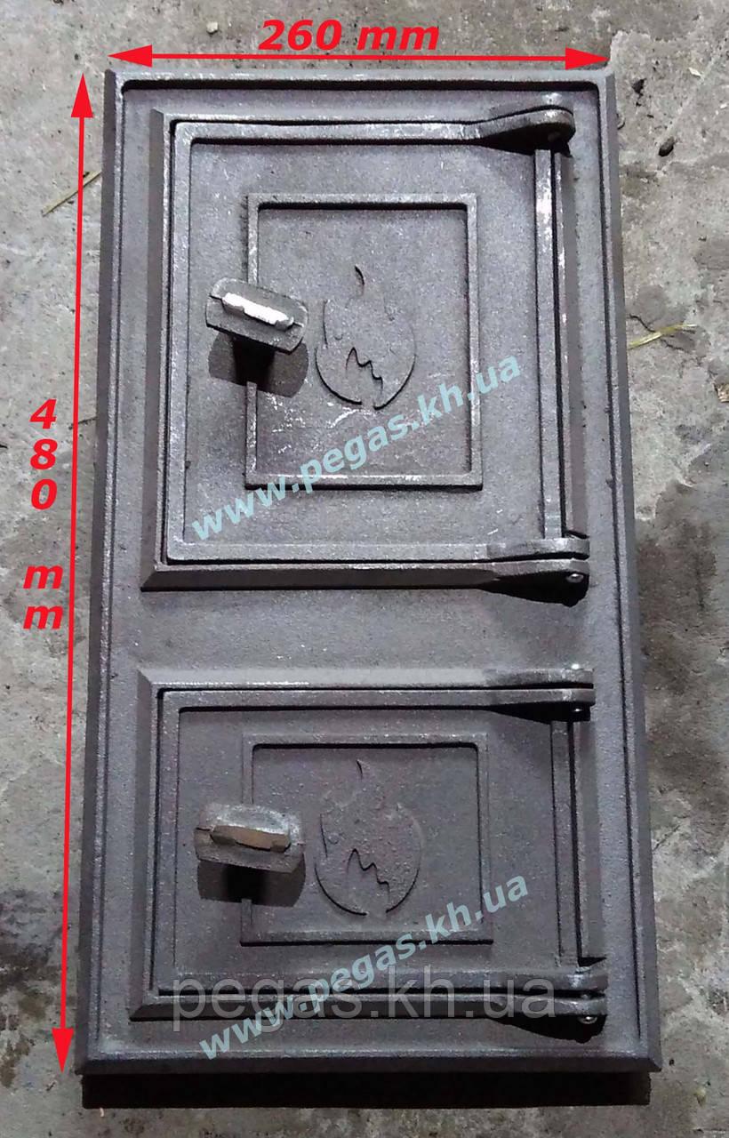 Дверка печная чугунная 260х480 мм.