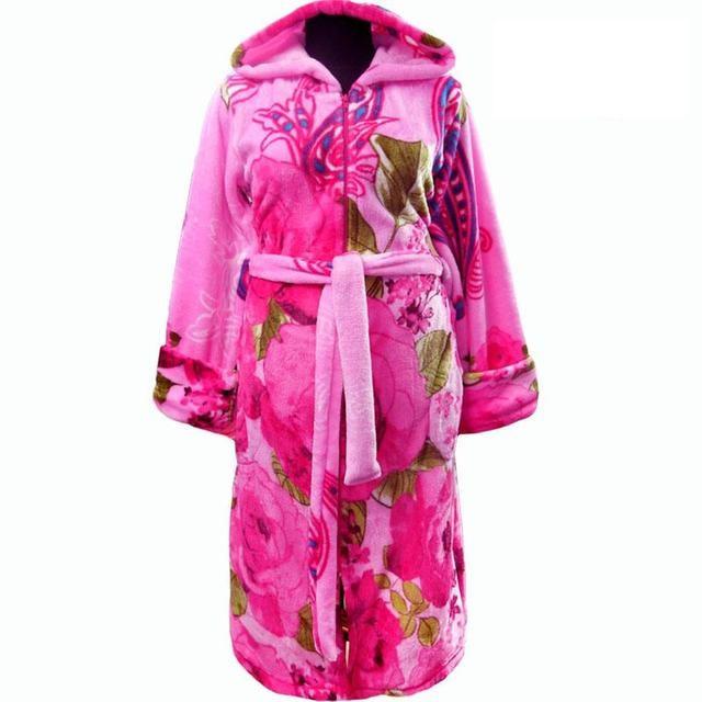 Яркий женский теплый махровый халат в цветах с капюшоном и молнией