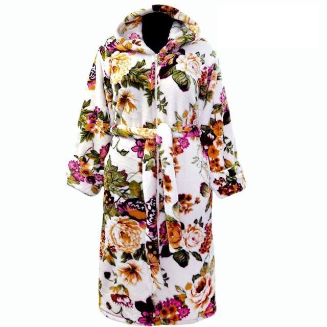 Халат домашний теплый банный махровый в цветах с капюшоном
