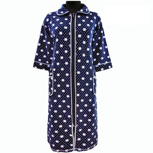 Красивый халат в горошек домашний зимний велюровый на молнии с карманом и рукавом три четверти