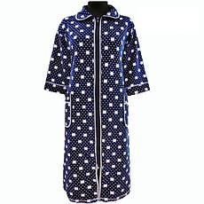 Гарний халат в горошок домашній зимовий велюровий на блискавці з кишенями і рукавом три чверті