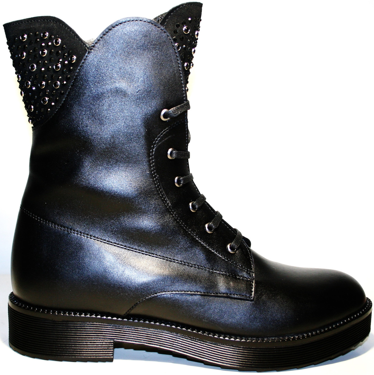 4accfdbc7f94 Ttucino обувь ботинки женские зима на шнуровке кожаные с мехом на низком  каблуке Tucino