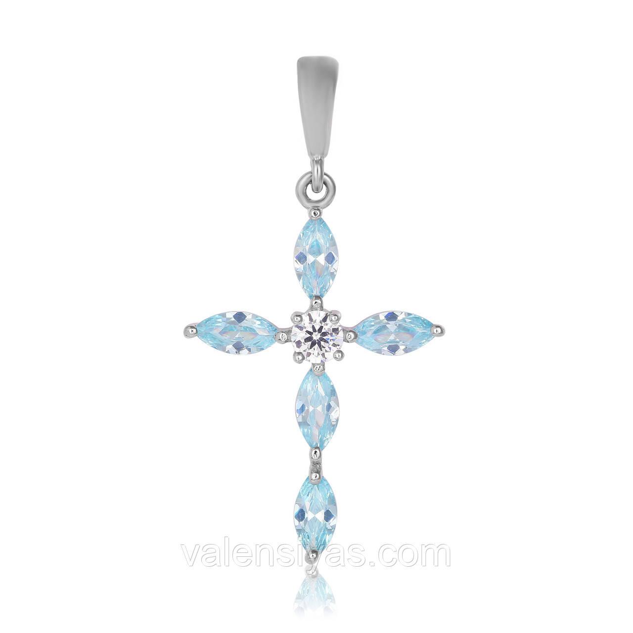 Крестик серебряный с голубыми камнями П2ФТ/435