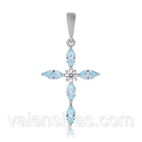 Крестик серебряный с голубыми камнями П2ФТ/435, фото 2
