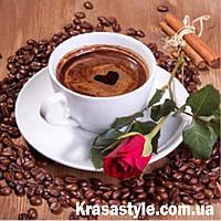 Алмазная вышивка Кофе с розой, фото 1